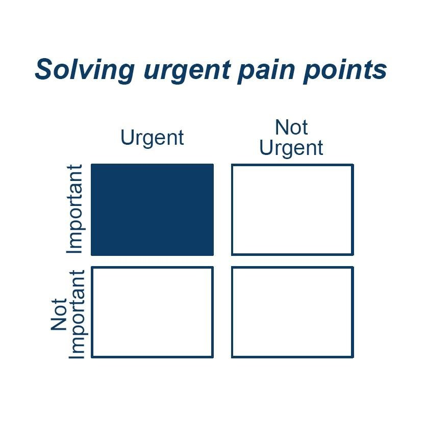 Graphical representation of urgent and important pain points in Minimum viable product