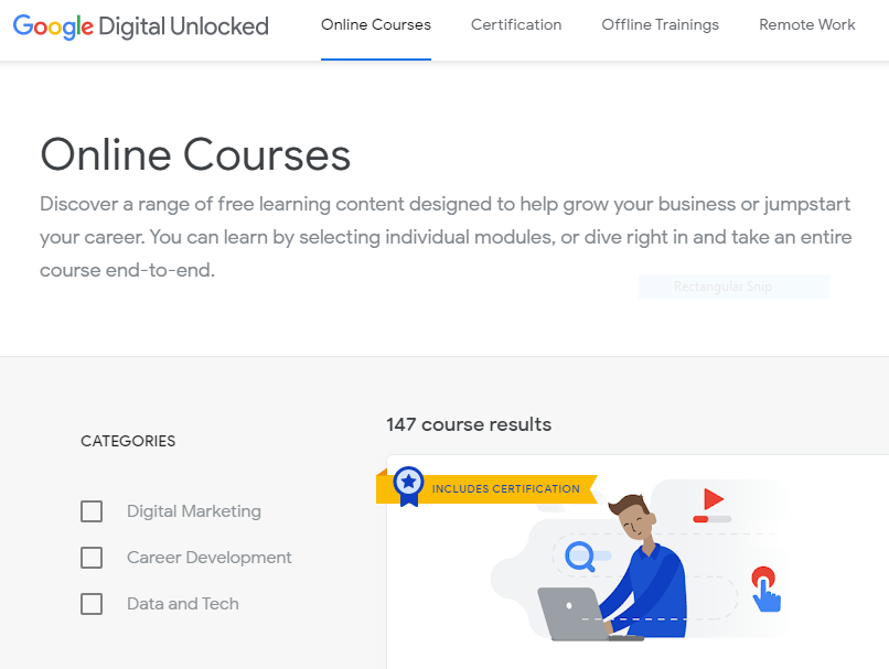 List of all type of Online course categories and related Courses