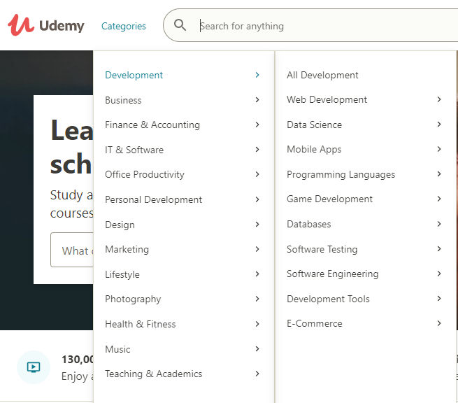 Example for E-learning platform category list