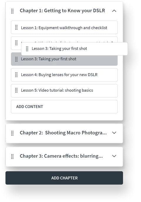 Online learning platform Course Management module